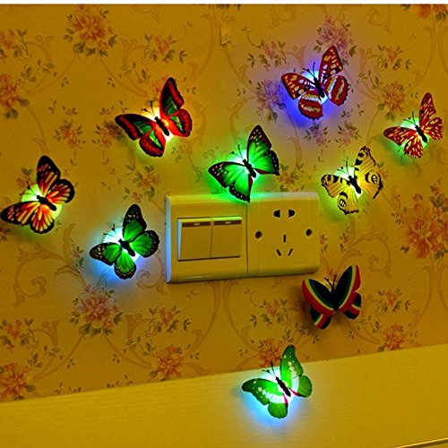 12 PCS Colorful Stick-on Mood Light LED Butterflies Night Light Sticker Toy Wall Decoration Light Mood Light for Festival Party Birthday Wedding Xmas Nursery Bedroom Door Window