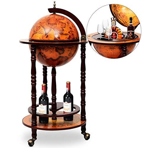 DREAMADE Mappamondo Bar Mobile Bar, Portabottiglie Scaffale per Vino con 3 Ruote, 88 x 45 x 45cm (medello 1)