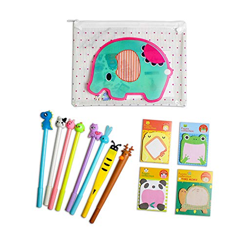 Penne animali per bambini Simpatico regalo scolastico, 8 pezzi Penna a inchiostro nero penna a sfera Penne a sfera liscia per scrivere Astuccio per bambini Set da scuola