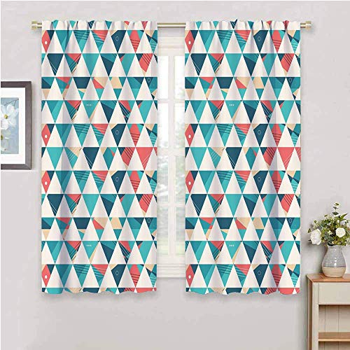 DIMICA Room Darkened Curtain geometric abstract triangles hexagons soft colors modern artwork cubism inspired Print Blackout Shades for Bedroom turquoise teal coral W63 x L45 Inch