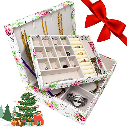 Jewelry Box For Women ~ Jewelry Organizer Box For Girls ~Jewlery Box For Rings, Earrings, Bracelets, Studs & Necklace ~ Double Layer Stackable Jewelry Organizer trays (Floral)