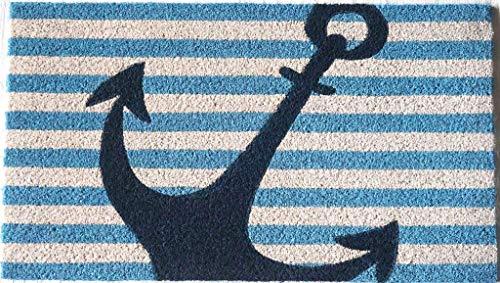 Zerbino da Esterno in Cocco con Base in PVC Dipinto a Mano Raffigurante Ancora Sfondo Bianco e Blu Mare 70X40X2 cm. Facile da Pulire e Ultraresistente