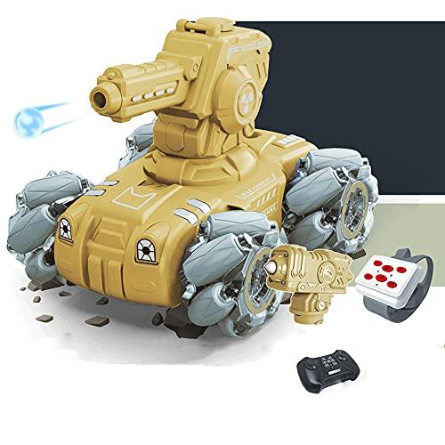 KGUANG Lanzamiento Bomba de agua Tanque RC Potencial de inducción Vehículo blindado 4WD Stunt Spray 2.4G Control remoto Mech Tanque Deriva Giratorio Apuntar Batalla Carro de juguete eléctrico para niñ