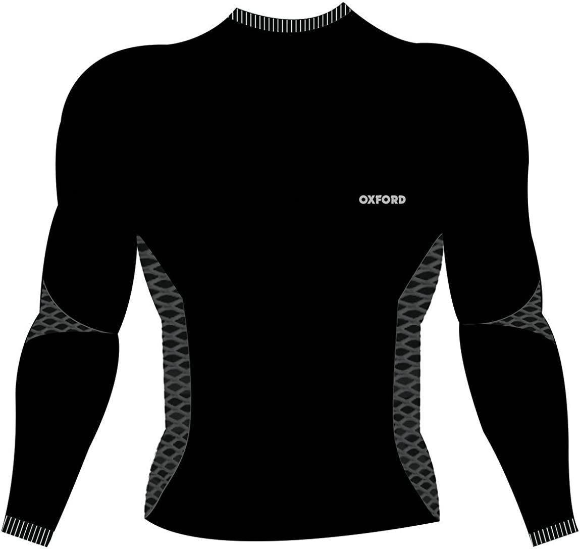 Oxford Base Layer Long Sleeve Top (XX-Large/XXX-Large) (Black/Grey)