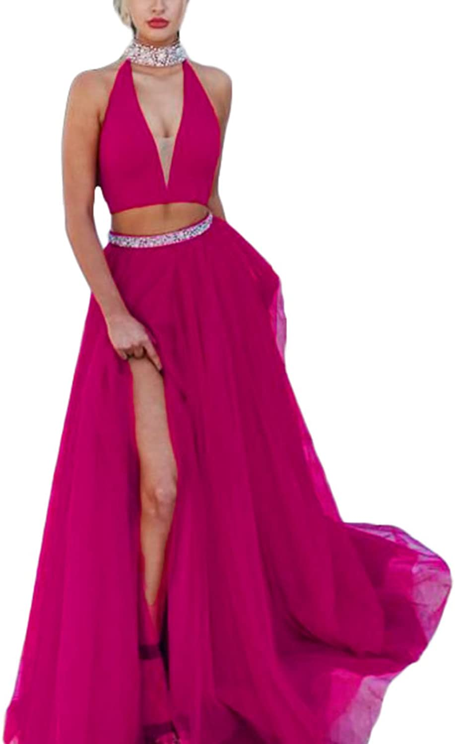 Alilith.Z Women's Halter V Neck Side Slit Beaded Rhinestones Two Piece Prom Dresses Formal Gowns and Evening Dresses