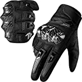 MADBIKE Motorcycle Gloves for Men Women Carbon Fiber Hard Knuckle Touchscreen Fit Dirt Mountain Bike Motocross(Black,Large)