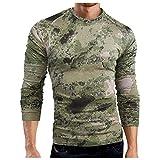 Camiseta de manga larga para hombre, transpirable, deportiva, de camuflaje, ajustada, de manga larga, de secado rápido, C_verde., M