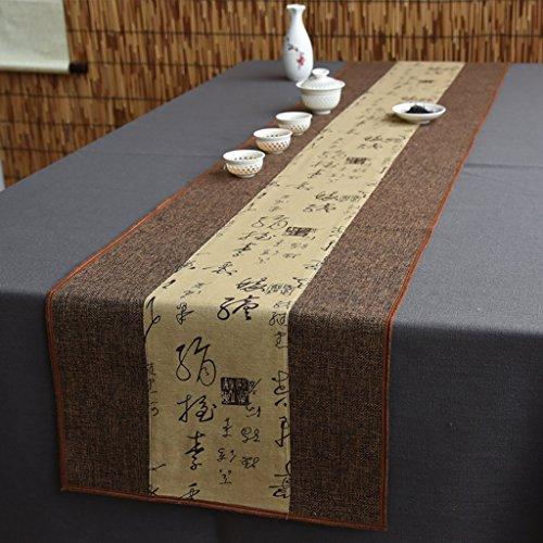 Signature Coton Chemin de Table Bouddhiste Mood Thé Table Coussin Ethnique Style Table Drapeau Lit Coureur Scripts et Peintures marron ( Couleur : A , taille : 35*120cm )