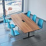 Easy Konferenztisch Bootsform 240x120 cm Nussbaum mit Elektrifizierung Besprechungstisch Tisch, Gestellfarbe:Anthrazit