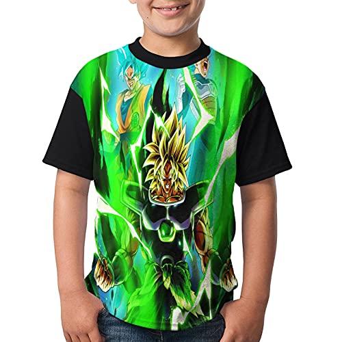 Dragon_Ball_Z - Camiseta de manga corta para niños y niñas con estampado en 3D para niños, Negro, XS