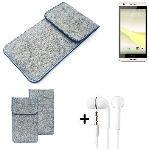 K-S-Trade Filz Schutz Hülle Für HTC Desire 650 Schutzhülle Filztasche Pouch Tasche Handyhülle Filzhülle Hellgrau, Blauer Rand + Kopfhörer