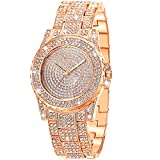 ManChDa Luxury Ladies Watch Iced Out Watch with Quartz Movement Crystal Rhinestone Diamond Watches for Women Stainless Steel Wristwatch Full Diamonds (4.Rose Gold)