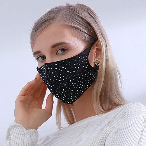 Yienate Máscara de diamantes de imitación a la moda, colorida, máscara de fiesta, máscara de noche, máscara de cristal brillante, decoración para mujeres y niñas