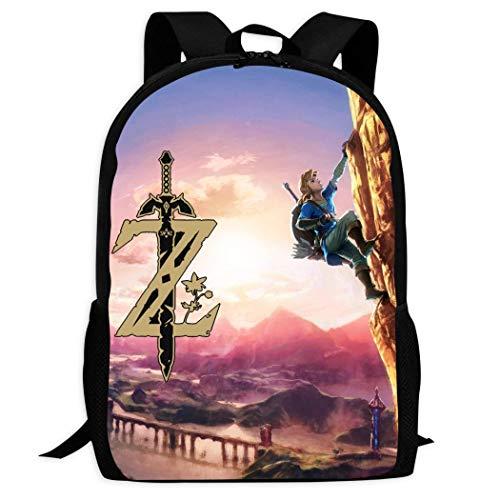 Therwd Childrens Adult Outdoor Sports School Backpack,Cool 3D Print ZE/ldA LE/gEn-D,Book Bags Shoulder Bag