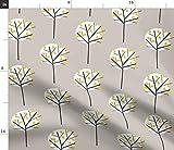Spoonflower Stoff – Mondschein Baum Stein grau