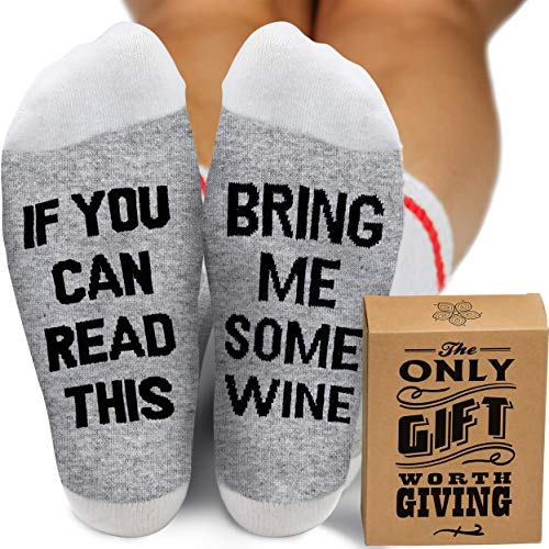 best gifts under 25 stocking stuffers and more WINE GIFTS FOR WOMEN and MEN - Christmas Stocking Stuffers for Women. Novelty Socks If You Can Read This Bring Me Some Wine. Gag Gifts for Wine Lovers. Quality Cotton One Size Fits Most.