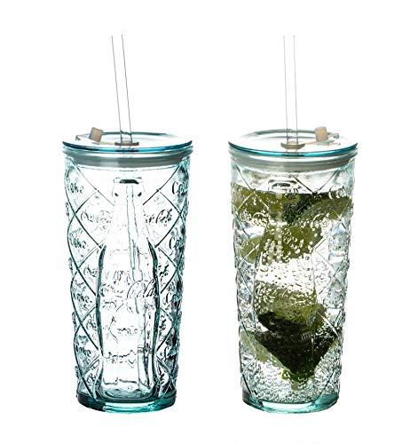 2X Coca-Cola Gläser 0,5 l mit Strohhalm - Rauten - 100% Recycled - Trinkglas mit Deckel - to Go Becher - Made in Spain