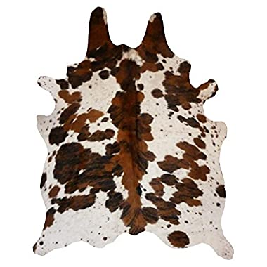 Decohides Spine Tricolor Real Cowhide Leather Rug 6' x 7' Browns & Off White