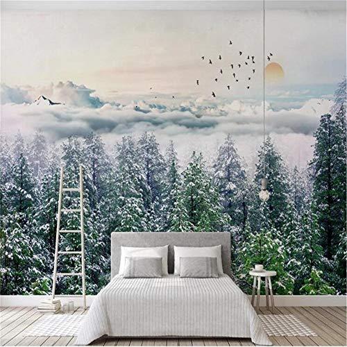 JIYOTTF Mural 3D Papel tapiz fotográfico Decoración de dormitorio infantilVerde bosque humo pájaros.(W 300 x H 210cm) Papel pintado mural impermeable autoadhesivo Pintura de pared estéreo 3D Pegatina