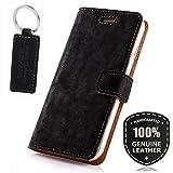 SURAZO Premium Vintage Ledertasche Schutzhülle Standfunktion Wallet Hülle aus Echtesleder Nubukleder Farbe Schwarz für Huawei Mate 10 Pro (6,00 Zoll)