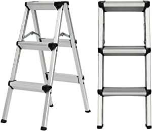 M-Y-S Step Ladder  Household Step Stool  Aluminium Sided Step Ladder Folding A-type Household Stepper  with Sturdy Pedal Multi-Use for Household and Office  Color section layers