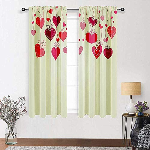 Patio Curtains Love Decor Collection Window Panel Set Cute Hearts in String Feminine Illustration Honeymoon Holiday Ornament Image 2 Panels 55' x 45' Pink Salmon White