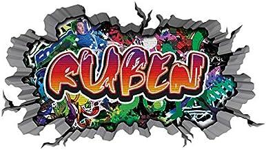 3D Wandtattoo graffiti muursticker naam RUBEN muurdoorbraak sticker Boy zelfklevend muursticker jongendeco kinderkamer 11M...