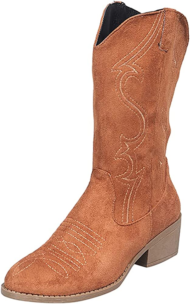 Cowboy Boots for Women Western Cowgirl Boots Embroidered Pointed Toe Chunky Heel Classic Mid calf Retro Black Brown US6-10.5