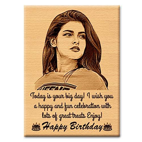 GFTBX 'Happy Birthday' Personalized Engraved Rectangular Wooden Photo Plaque Gift for Girlfriend (5 x 4 inches, Brown)