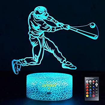 LETOUR Night Light for Kids Baseball 3D Night Light Porpoise Illusion Lamp with Remote Control 16 Color Changing Xmas Halloween Birthday Gift for Child Baby Boy (Remote - Ice Crack Base)