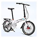 DJYD Erwachsene Faltrad, 20 Zoll 7-Gang Faltbare Fahrrad, Super Compact Urban Commuter Fahrrad, faltbares Fahrrad mit Anti-Skid und verschleißfesten Reifen, Grau FDWFN (Color : White)