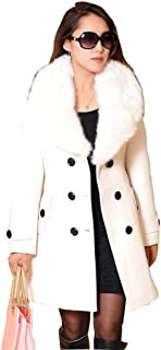 Babubala Plus Size M-5XL Winter Coat Women Fashion Slim Big Fur Collar Double-Breasted Womens Wool Blended AE-ME-168