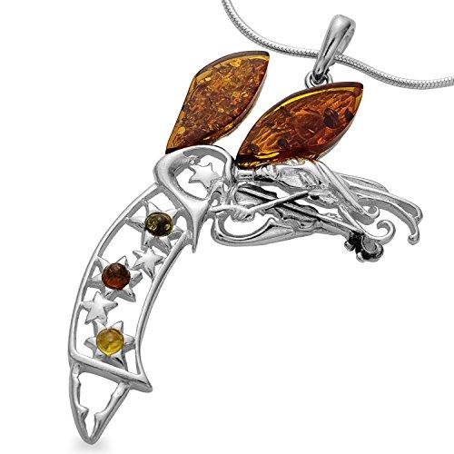 Bernsteinschmuck Damen XL Anhänger 8,5g Schutz Engel Sterne Geige Violine Viola Bratsche Geigerin 925 Sterling Silber #1628