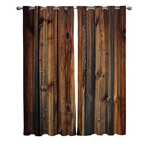 Blackout Window Curtain 2 Panels, Rustic Brown Wood Panel Room Darkening Thermal Insulated with Grommet Curtains for Living Room Bedroom Farmhouse Wooden Texture Country Style 52x63 Inch x2