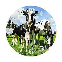 夏の牧草地で牛を食べる丸い壁時計PVC時計サイレント非カチカチ時計レストランオフィスの装飾的な円の壁時計学校の家の装飾9.84インチ