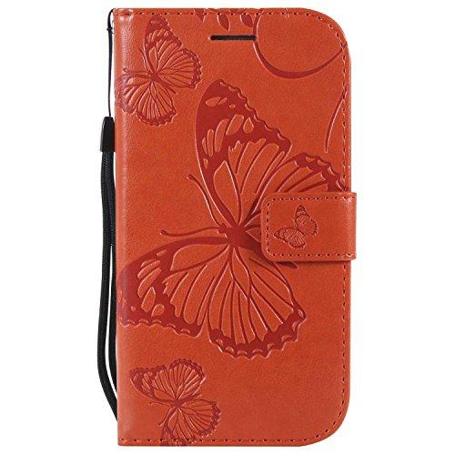 DENDICO Cover Galaxy S4, Pelle Portafoglio Custodia per Samsung Galaxy S4 Custodia a Libro con Funzione di appoggio e Porta Carte di cRossoito - Arancia