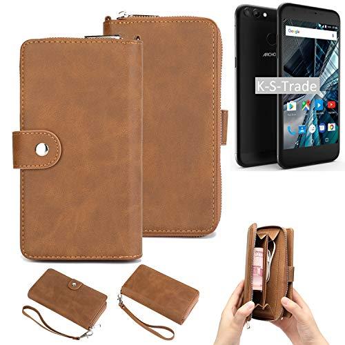 K-S-Trade Handy-Schutz-Hülle Kompatibel Mit Archos 55 Graphite Portemonnee Tasche Wallet-Hülle Bookstyle-Etui Braun (1x)