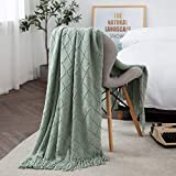 TREELY Aqua Throw Blanket with Fringe Tassels Knitted Throw Blanket Textured Solid Decorative Knit Blanket for Bed Couch, 50' x 67.7', Aqua