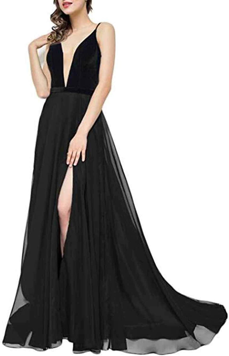 Alilith.Z High Side Split Prom Dresses Sexy Deep V Neck Velvet Formal Evening Dresses Party Gowns for Women