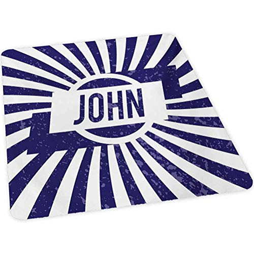 "John - Alfombra para silla de escritorio, diseño con texto en inglés ""Common Masculine"", diseño de rayas onduladas con aspecto envejecido, 88,9 cm x 47 cm, color azul marino y blanco"