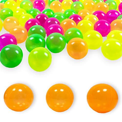 100 Bälle 8 cm Neon- Orange Bälle für Kinder Bällebad Babybälle Plastikbälle Ballpool ohne gefährliche Weichmacher