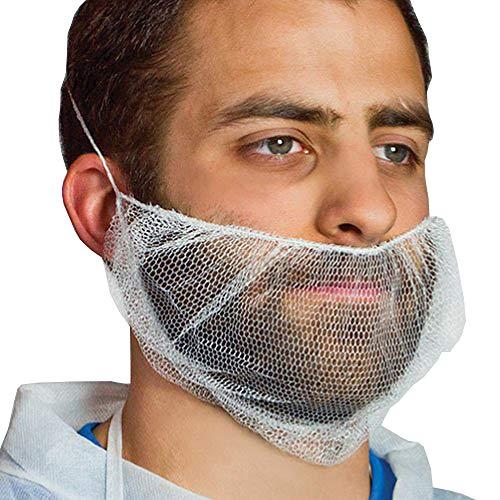 AMZ White Beard Covers 19 x 9 inch. Pack of 100 Disposable Beard Nets. 100% Virgin Nylon Beard Protectors. Facial Hair Covering with Single Loop. Beard Nets Breathable, Lightweight.