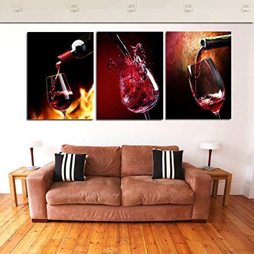QUANQUAN Stampe e Quadri su Tela Quadri su Tela Arte murale Stampe HD Immagini 3 Pezzi Bicchiere di Vino Rosso di Viti di vigna Poster per Soggiorno Decorazioni per la casa modulari