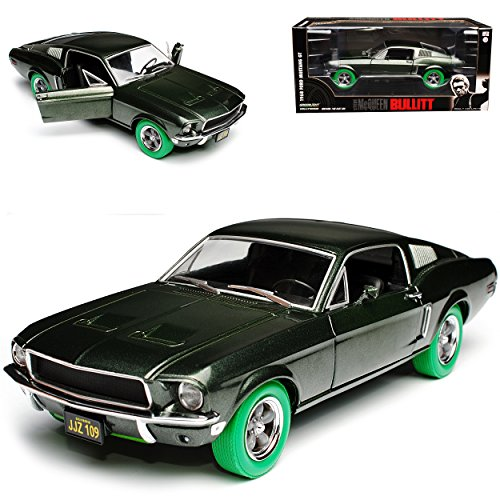 Greenlight Ford Mustang Bullitt Grün Coupe Steve McQueen gruene Reifen 1968 1/24 Modell Auto