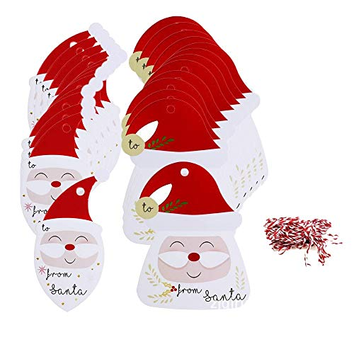 Chris.W 100 Pieces Santa Claus Paper Tags Christmas Tags Labels Christmas Party Favors with Organza Ribbons Christmas Party Decoration