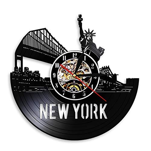 KDBWYC Paisaje Urbano de Nueva York Reloj de Pared Exclusivo contemporáneo Decoración de Pared Reloj de Pared con Disco de Vinilo Skyline de Nueva York Relojes Regalos de Viaje únicos sin LED