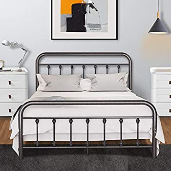 Metal Bed Frame Full Size with Vintage Headboard and Footboard Noillats Solid Sturdy Steel Slat Support Mattress Foundation No Box Spring Needed and Easy Assembly