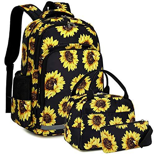 School Backpacks Girls Sunflower Bookbag Water-resistant Schoolbag Kids Insulation Lunch bag and Pencil case (Sunflower - Black)