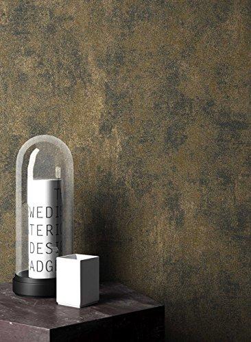 NEWROOM Barocktapete Tapete Schwarz Putz Beton Uni Vliestapete Gold Vlies moderne Design Optik Struktur inkl. Tapezier Ratgeber
