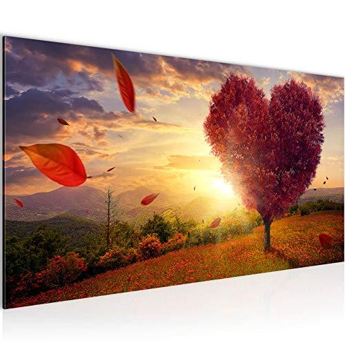 Bilder Herbst Baum Herz Wandbild Vlies - Leinwand Bild XXL Format Wandbilder Wohnzimmer Wohnung Deko Kunstdrucke Rot 1 Teilig - MADE IN GERMANY - Fertig zum Aufhängen 605812a